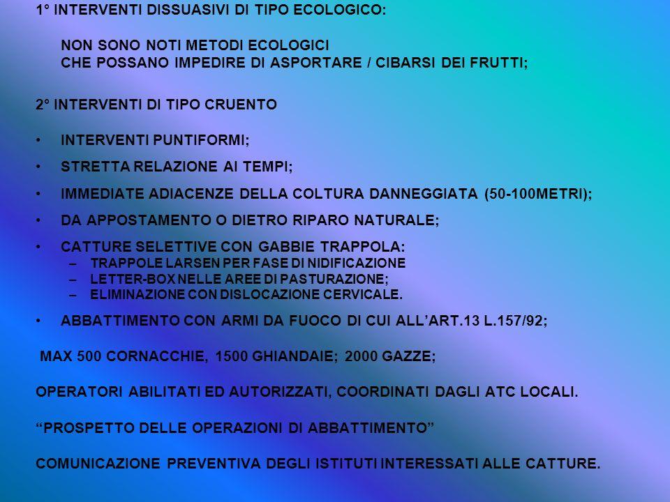1° INTERVENTI DISSUASIVI DI TIPO ECOLOGICO: