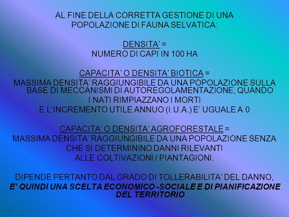 AL FINE DELLA CORRETTA GESTIONE DI UNA POPOLAZIONE DI FAUNA SELVATICA: