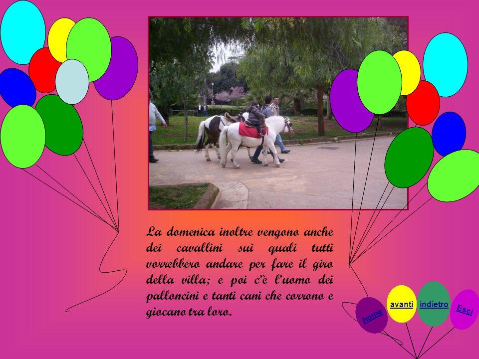 La domenica inoltre vengono anche dei cavallini sui quali tutti vorrebbero andare per fare il giro della villa; e poi c'è l'uomo dei palloncini e tanti cani che corrono e giocano tra loro.