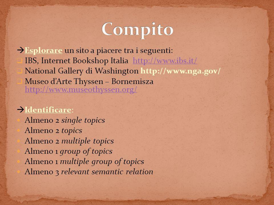 Compito Esplorare un sito a piacere tra i seguenti: