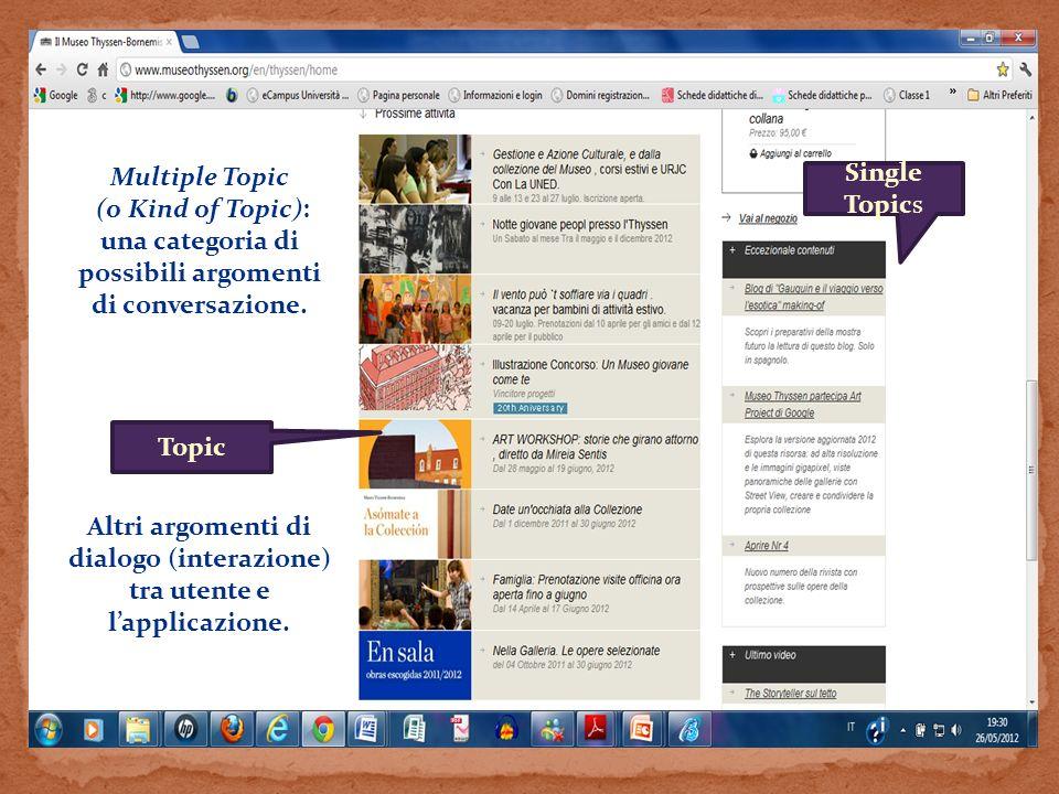Altri argomenti di dialogo (interazione) tra utente e l'applicazione.