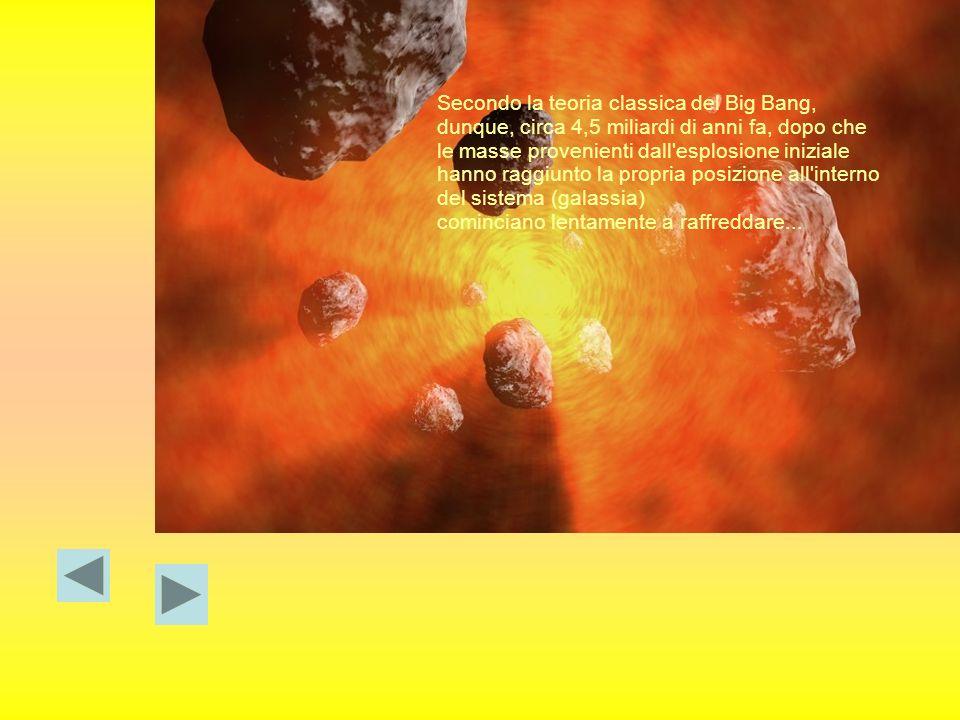 Secondo la teoria classica del Big Bang, dunque, circa 4,5 miliardi di anni fa, dopo che le masse provenienti dall esplosione iniziale hanno raggiunto la propria posizione all interno del sistema (galassia)