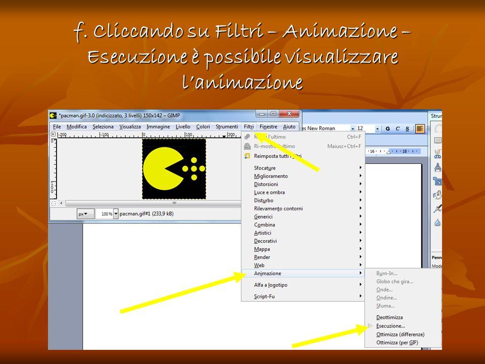 f. Cliccando su Filtri – Animazione – Esecuzione è possibile visualizzare l'animazione