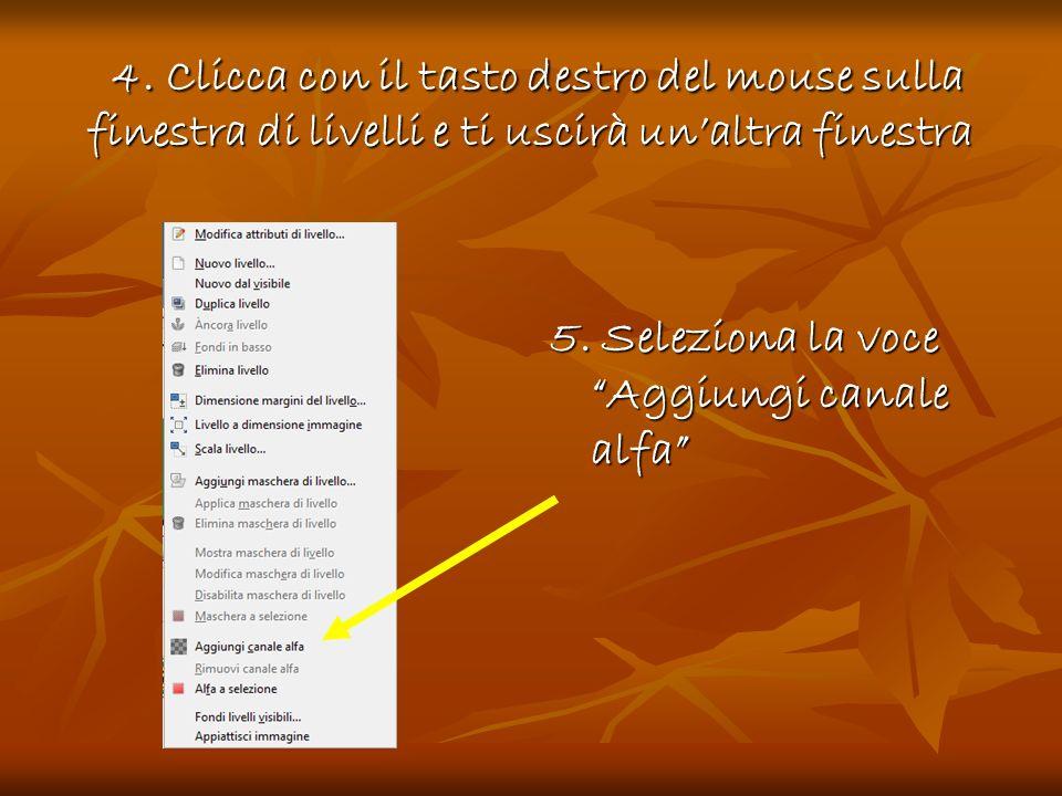 4. Clicca con il tasto destro del mouse sulla finestra di livelli e ti uscirà un'altra finestra