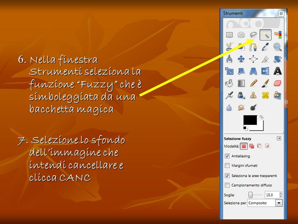 6. Nella finestra Strumenti seleziona la funzione Fuzzy che è simboleggiata da una bacchetta magica