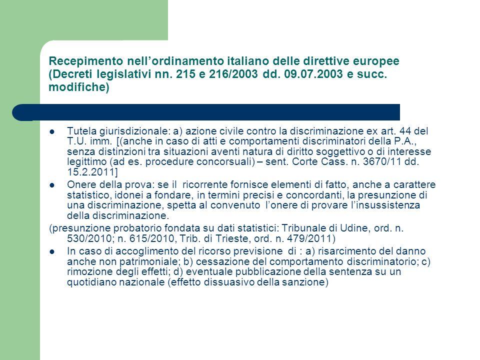 Recepimento nell'ordinamento italiano delle direttive europee (Decreti legislativi nn. 215 e 216/2003 dd. 09.07.2003 e succ. modifiche)
