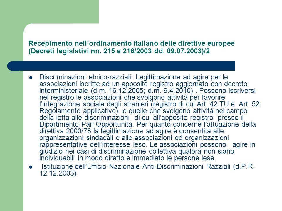 Recepimento nell'ordinamento italiano delle direttive europee (Decreti legislativi nn. 215 e 216/2003 dd. 09.07.2003)/2