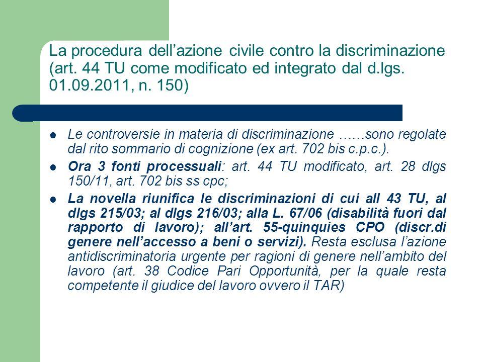 La procedura dell'azione civile contro la discriminazione (art