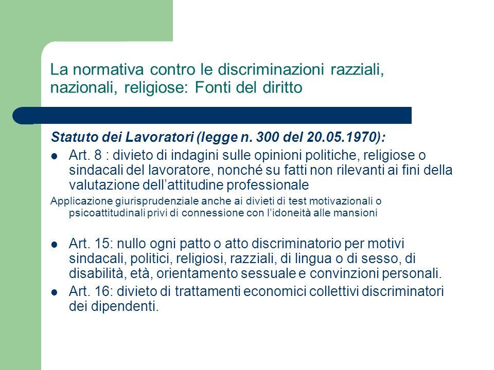 La normativa contro le discriminazioni razziali, nazionali, religiose: Fonti del diritto
