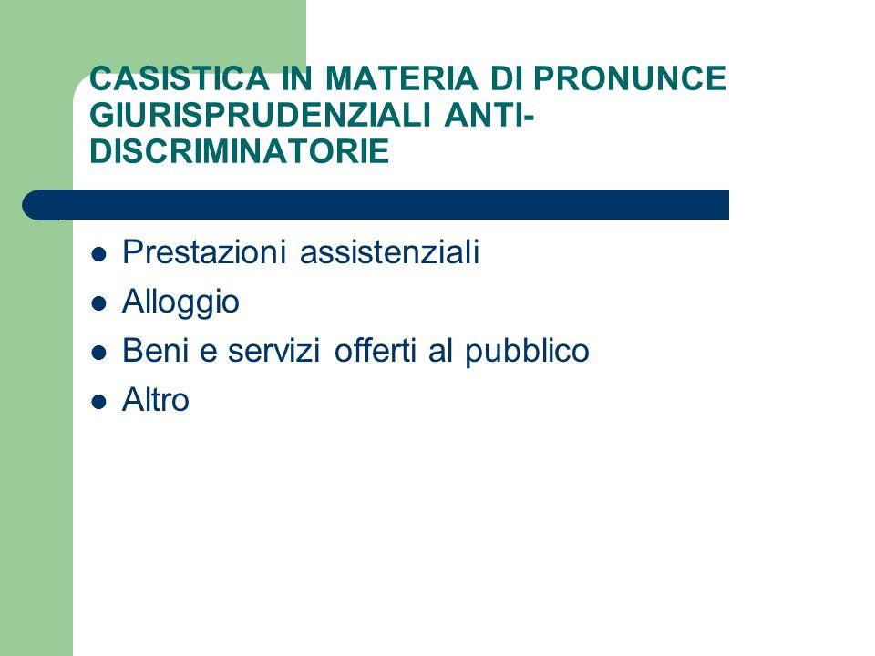 CASISTICA IN MATERIA DI PRONUNCE GIURISPRUDENZIALI ANTI-DISCRIMINATORIE