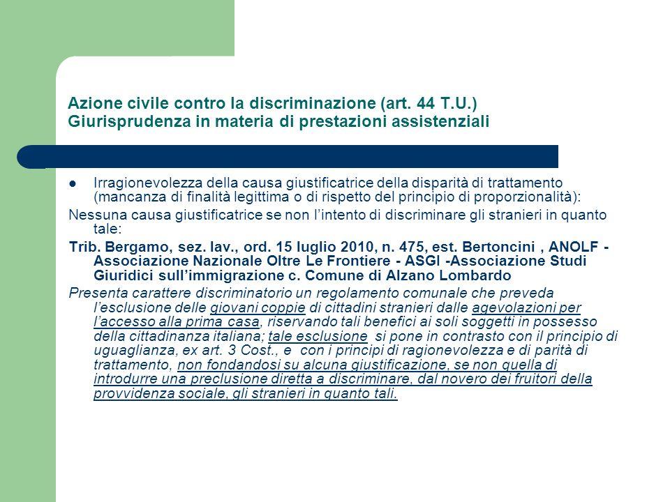 Azione civile contro la discriminazione (art. 44 T. U