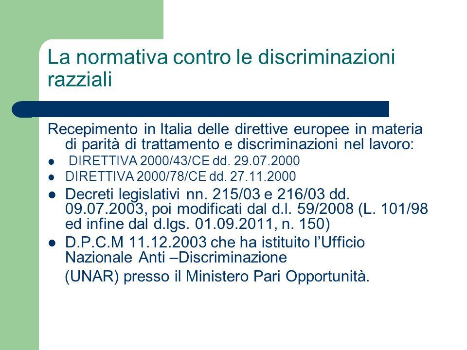 La normativa contro le discriminazioni razziali