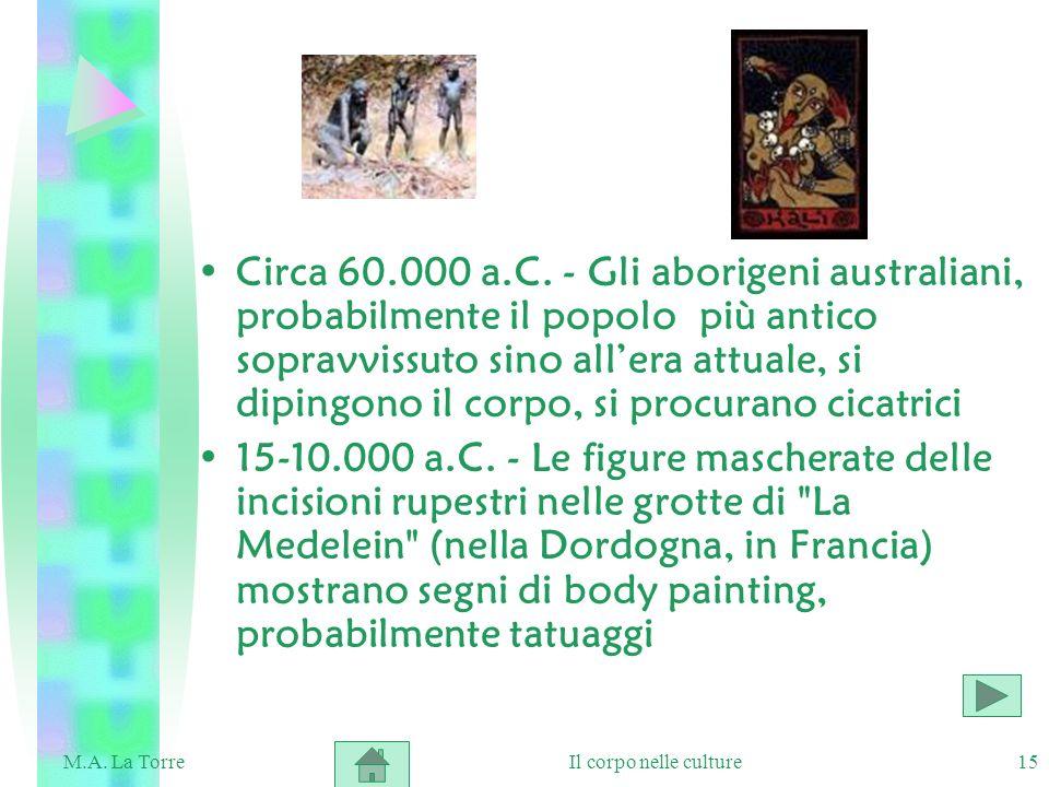 Circa 60.000 a.C. - Gli aborigeni australiani, probabilmente il popolo più antico sopravvissuto sino all'era attuale, si dipingono il corpo, si procurano cicatrici