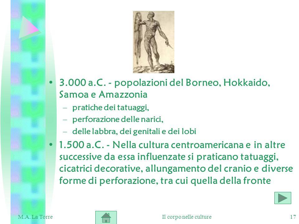 3.000 a.C. - popolazioni del Borneo, Hokkaido, Samoa e Amazzonia