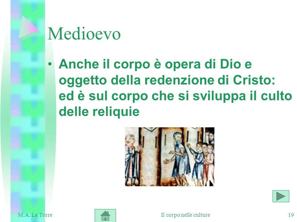 Medioevo Anche il corpo è opera di Dio e oggetto della redenzione di Cristo: ed è sul corpo che si sviluppa il culto delle reliquie.