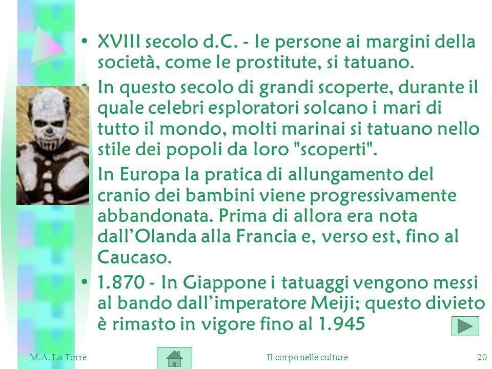 XVIII secolo d.C. - le persone ai margini della società, come le prostitute, si tatuano.