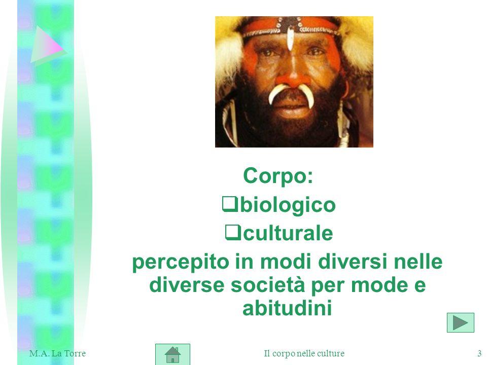 percepito in modi diversi nelle diverse società per mode e abitudini