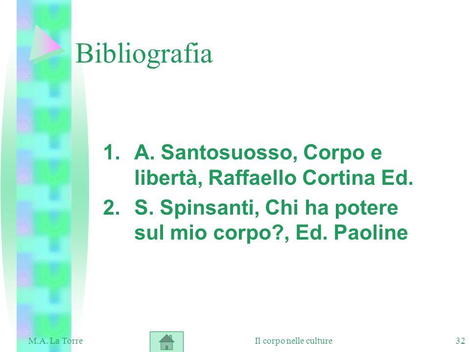 Bibliografia A. Santosuosso, Corpo e libertà, Raffaello Cortina Ed.