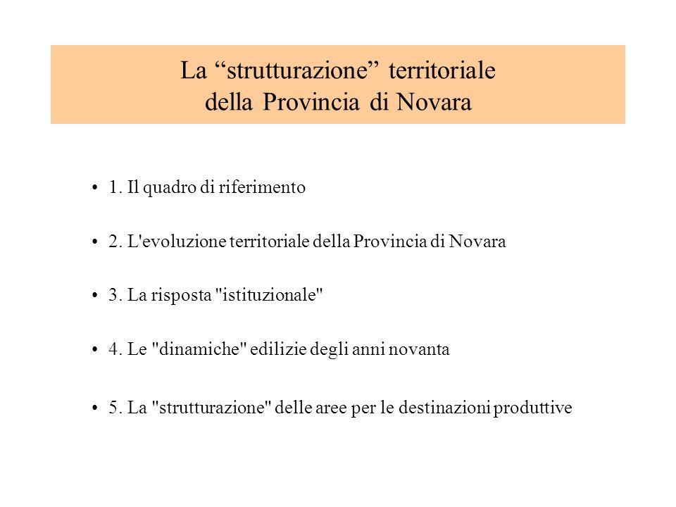 La strutturazione territoriale della Provincia di Novara