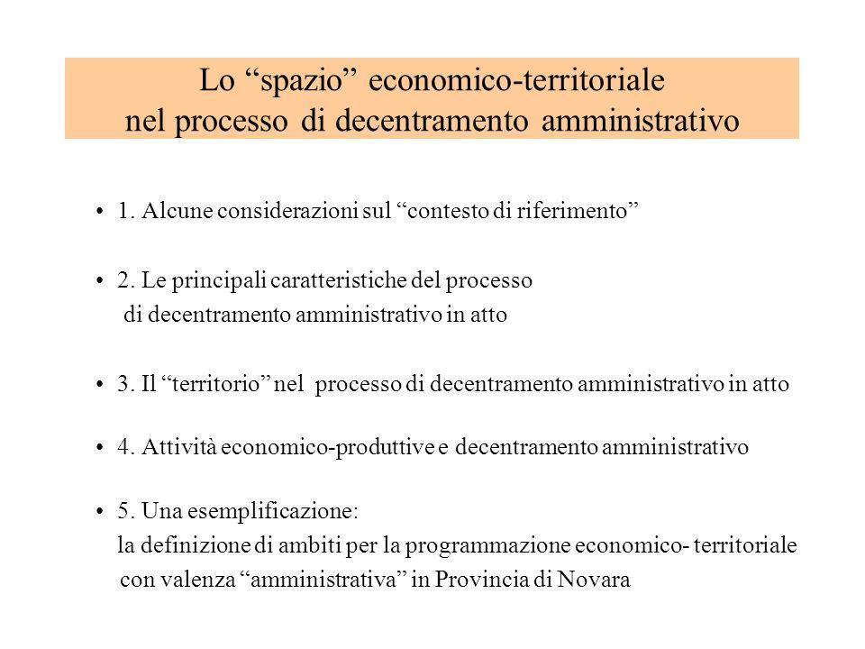 Lo spazio economico-territoriale nel processo di decentramento amministrativo