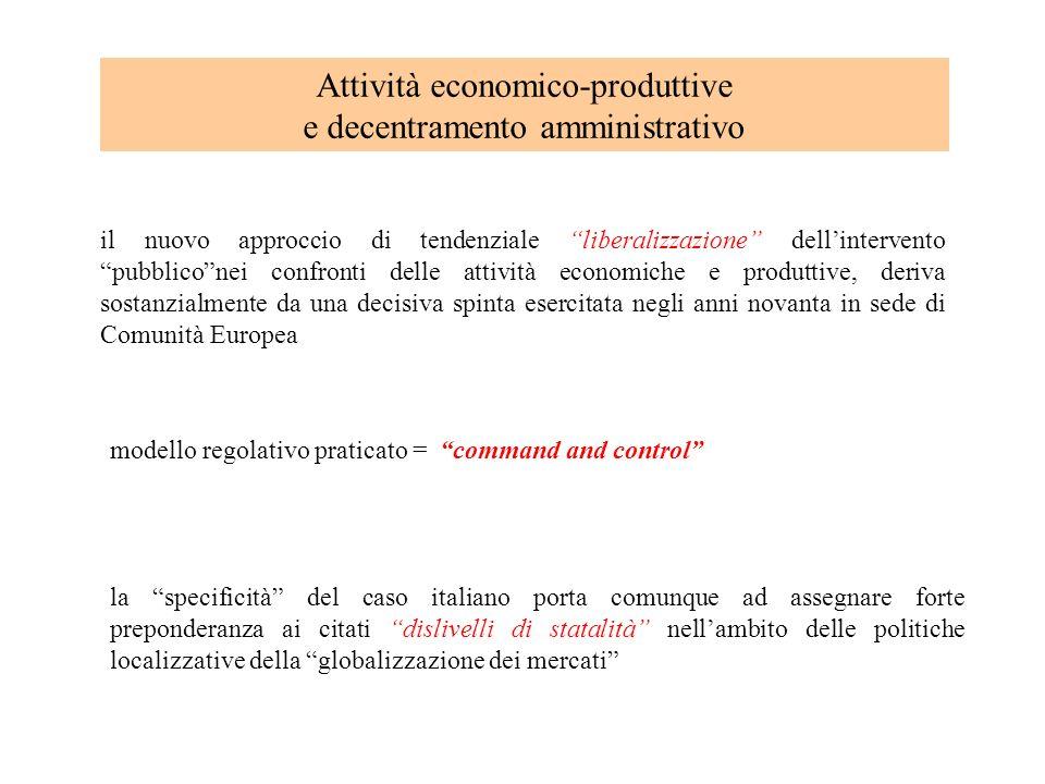 Attività economico-produttive e decentramento amministrativo