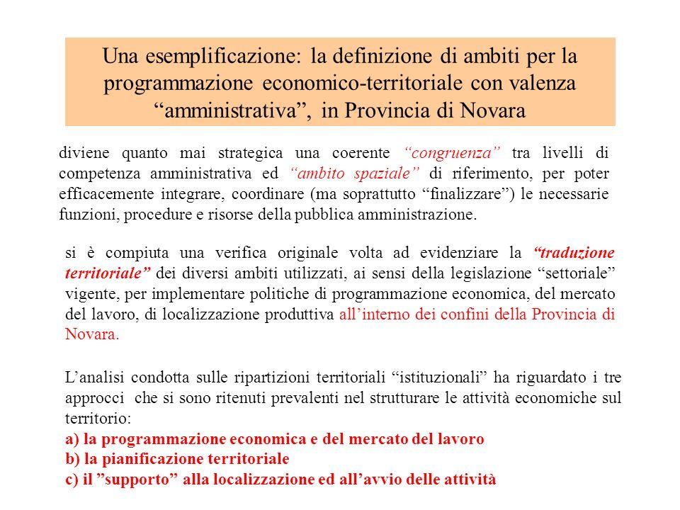 Una esemplificazione: la definizione di ambiti per la programmazione economico-territoriale con valenza amministrativa , in Provincia di Novara