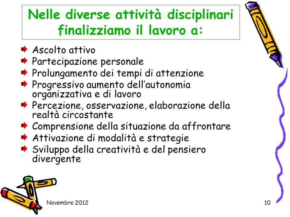Nelle diverse attività disciplinari finalizziamo il lavoro a: