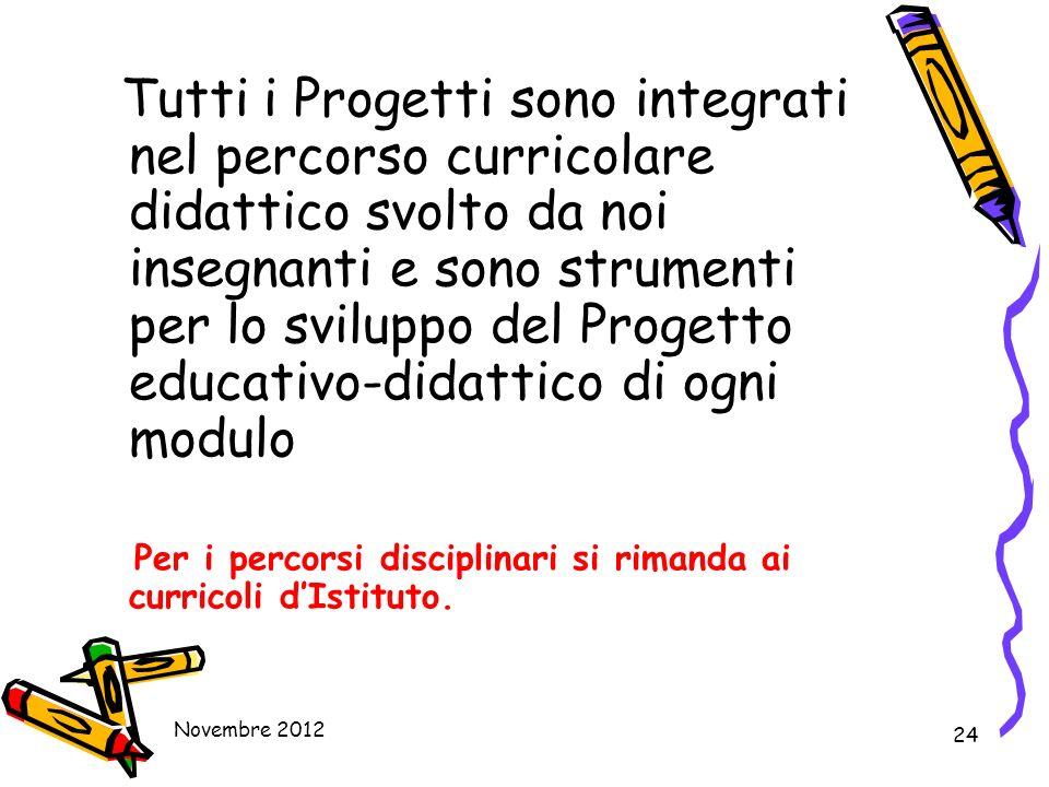 Tutti i Progetti sono integrati nel percorso curricolare didattico svolto da noi insegnanti e sono strumenti per lo sviluppo del Progetto educativo-didattico di ogni modulo