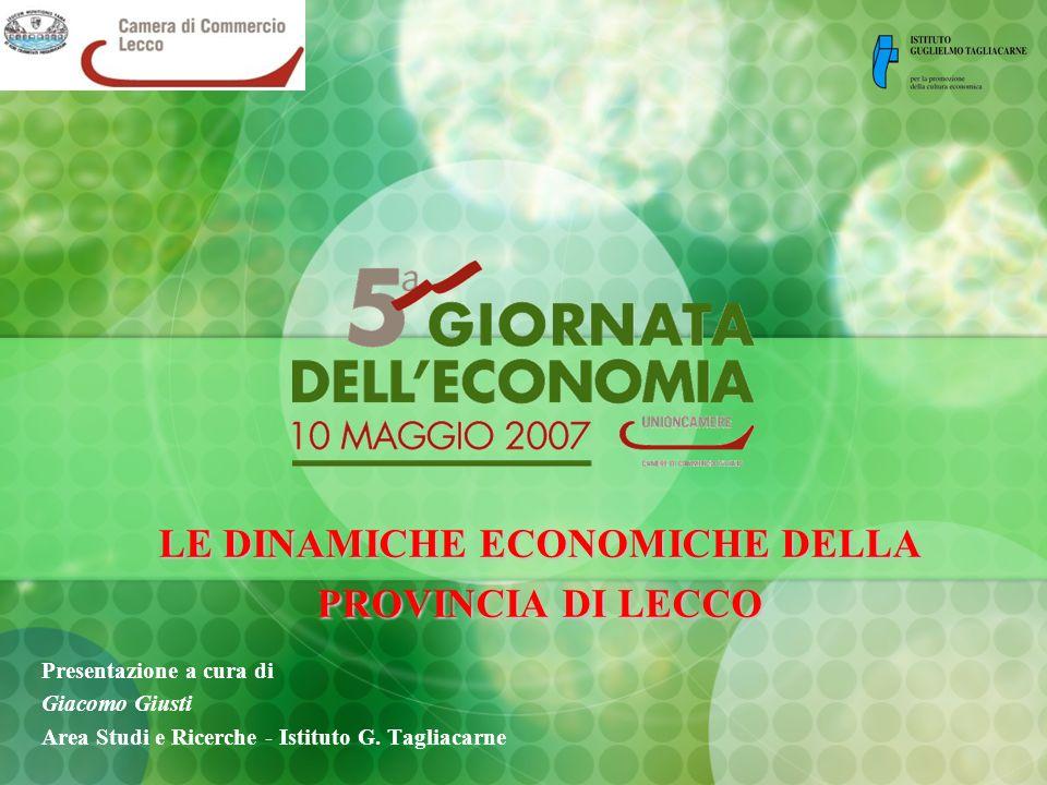 LE DINAMICHE ECONOMICHE DELLA PROVINCIA DI LECCO