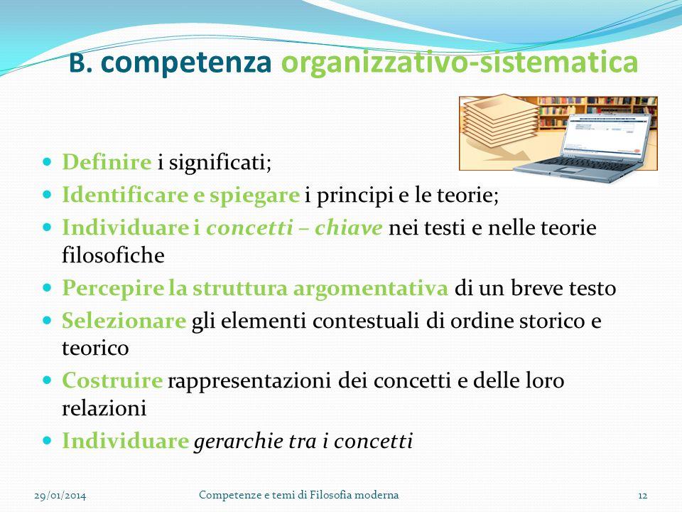 B. competenza organizzativo-sistematica