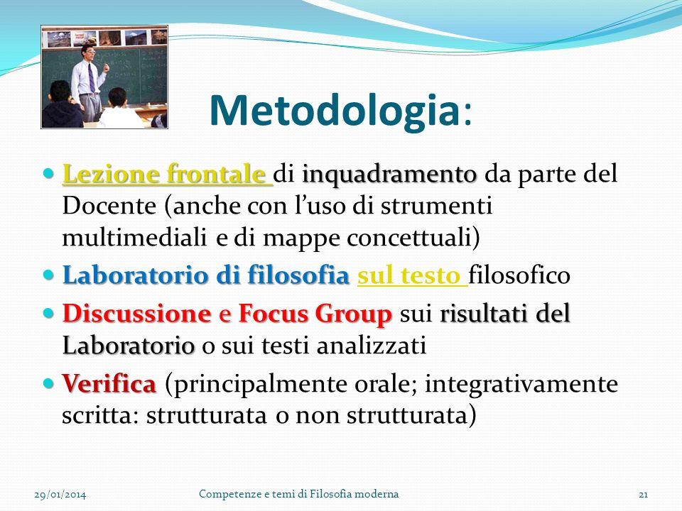 Metodologia: Lezione frontale di inquadramento da parte del Docente (anche con l'uso di strumenti multimediali e di mappe concettuali)