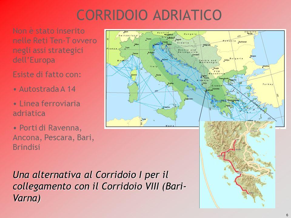 CORRIDOIO ADRIATICO Non è stato inserito nelle Reti Ten-T ovvero negli assi strategici dell'Europa.