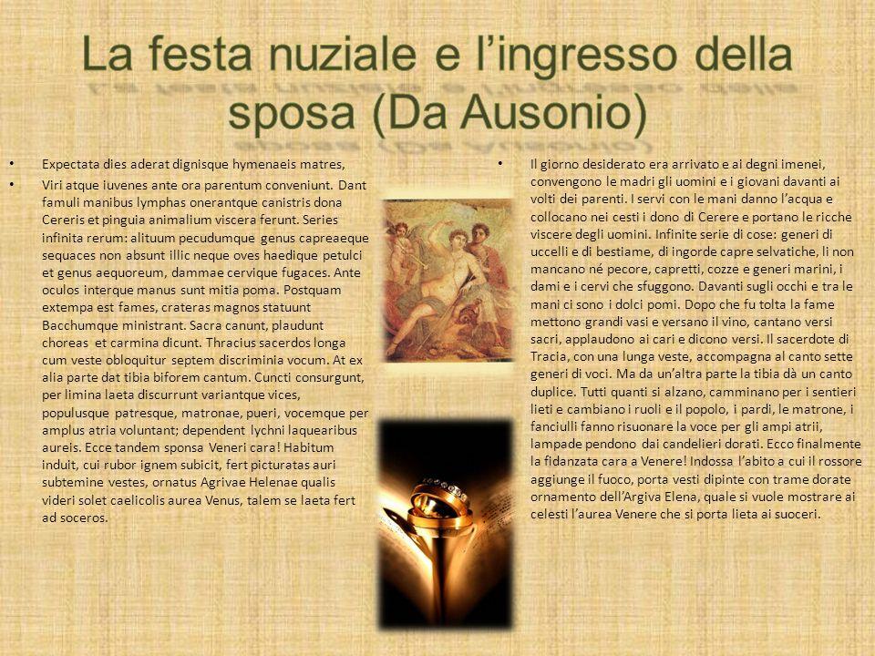La festa nuziale e l'ingresso della sposa (Da Ausonio)