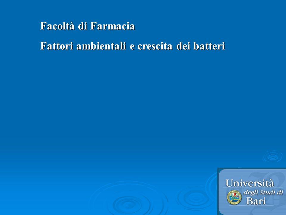 Facoltà di Farmacia Fattori ambientali e crescita dei batteri