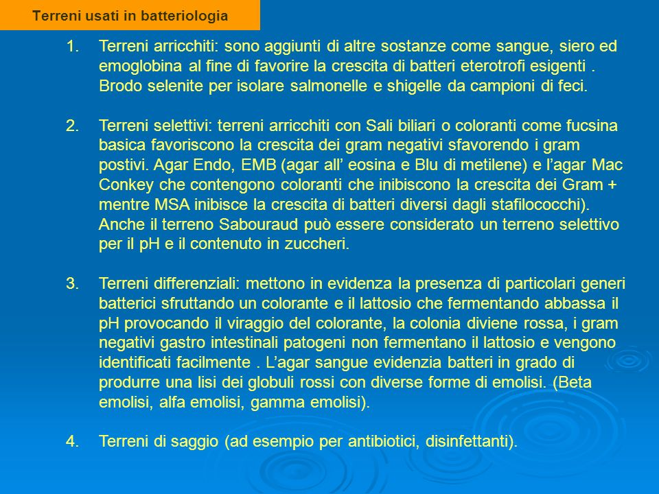 Terreni usati in batteriologia