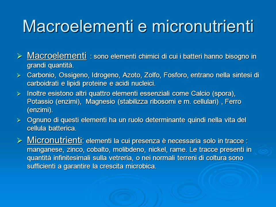 Macroelementi e micronutrienti