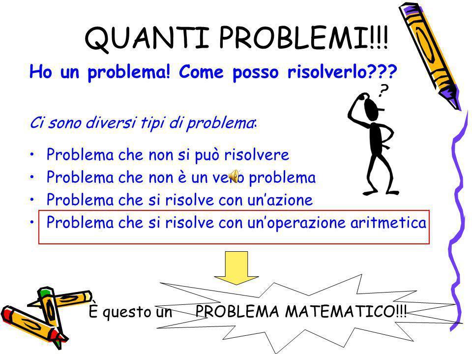QUANTI PROBLEMI!!! Ho un problema! Come posso risolverlo