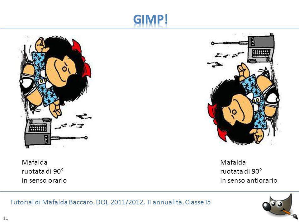 GIMP! Mafalda ruotata di 90° in senso orario Mafalda ruotata di 90°
