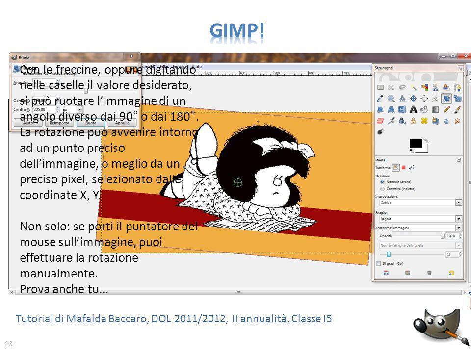 GIMP! Con le freccine, oppure digitando nelle caselle il valore desiderato, si può ruotare l'immagine di un angolo diverso dai 90° o dai 180°.