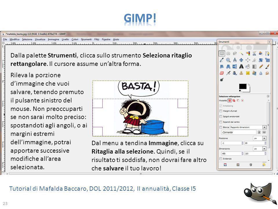 GIMP! Dalla palette Strumenti, clicca sullo strumento Seleziona ritaglio rettangolare. Il cursore assume un'altra forma.
