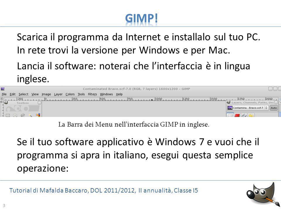 La Barra dei Menu nell'interfaccia GIMP in inglese.