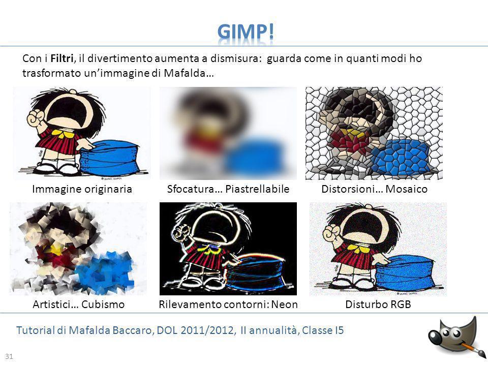 GIMP! Con i Filtri, il divertimento aumenta a dismisura: guarda come in quanti modi ho trasformato un'immagine di Mafalda…