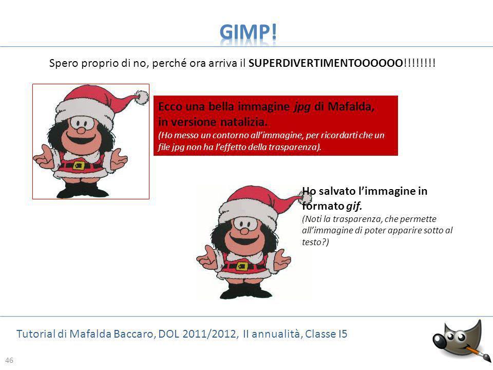 GIMP! Ecco una bella immagine jpg di Mafalda, in versione natalizia.