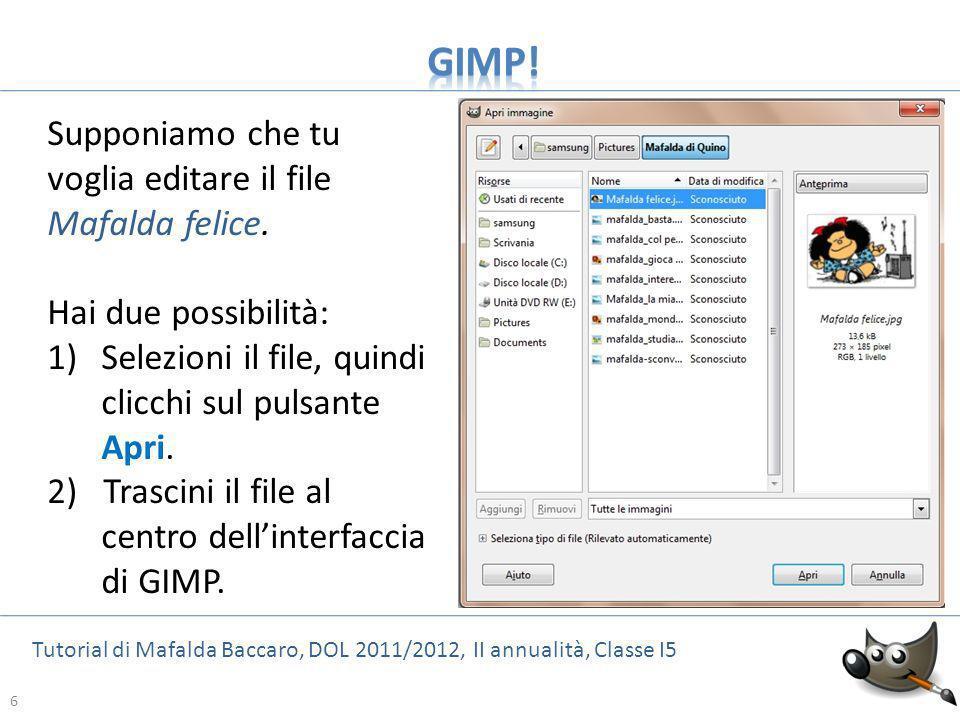 GIMP! Supponiamo che tu voglia editare il file Mafalda felice.