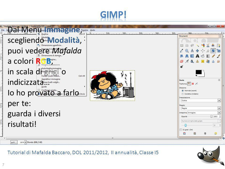 GIMP! Dal Menu Immagine, scegliendo Modalità, puoi vedere Mafalda