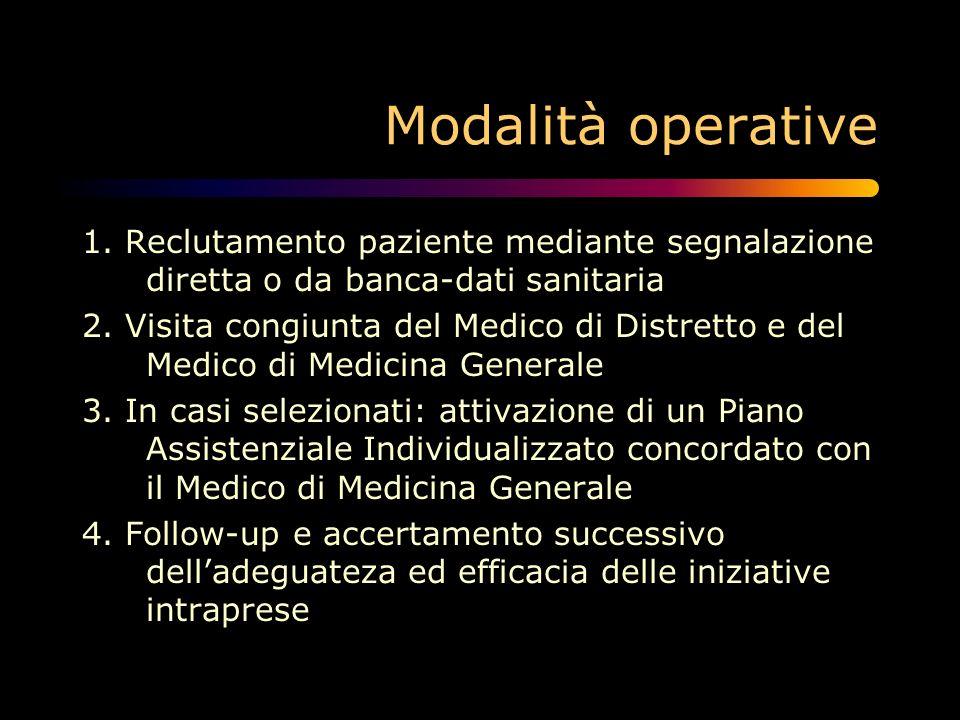 Modalità operative 1. Reclutamento paziente mediante segnalazione diretta o da banca-dati sanitaria.