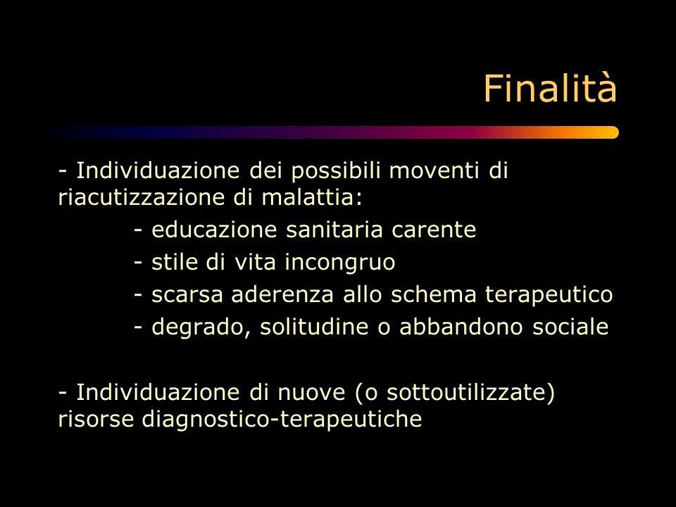 Finalità - Individuazione dei possibili moventi di riacutizzazione di malattia: - educazione sanitaria carente.