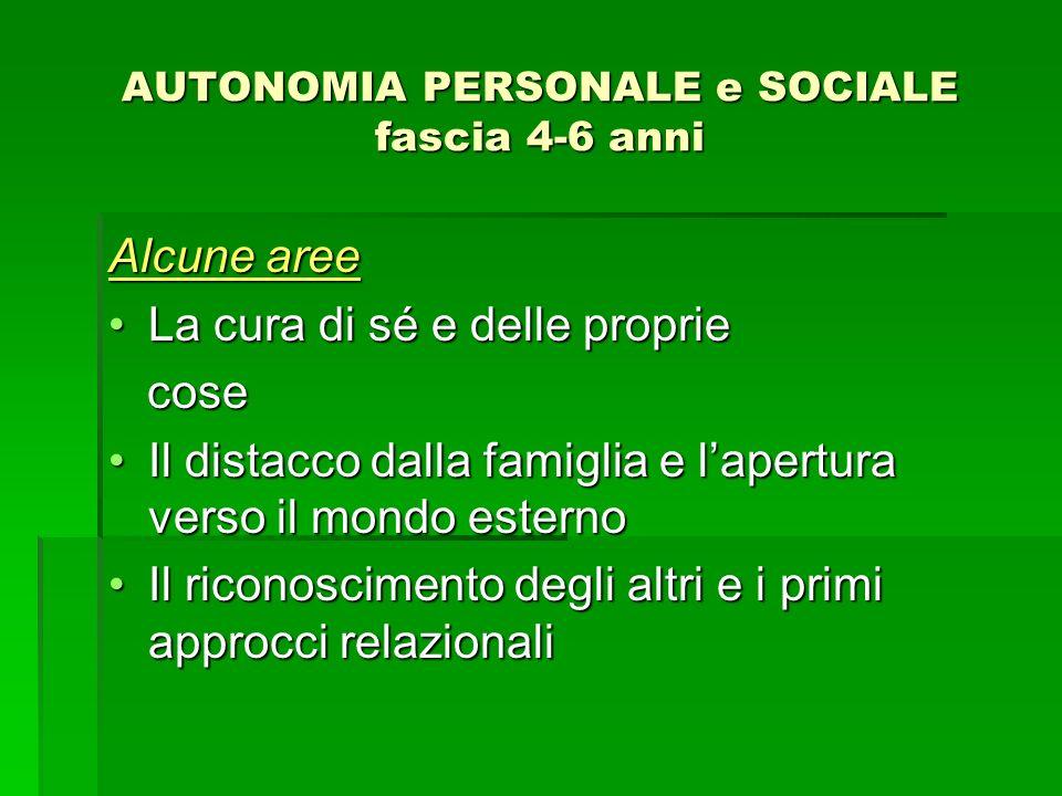 AUTONOMIA PERSONALE e SOCIALE fascia 4-6 anni