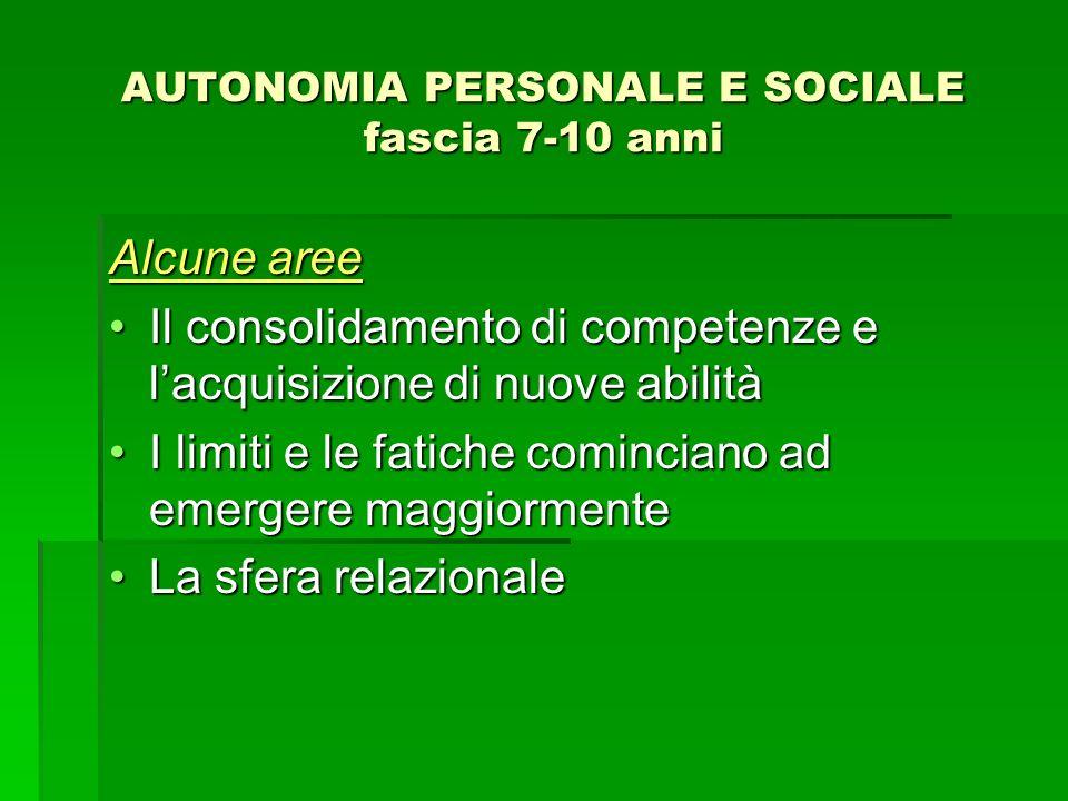 AUTONOMIA PERSONALE E SOCIALE fascia 7-10 anni