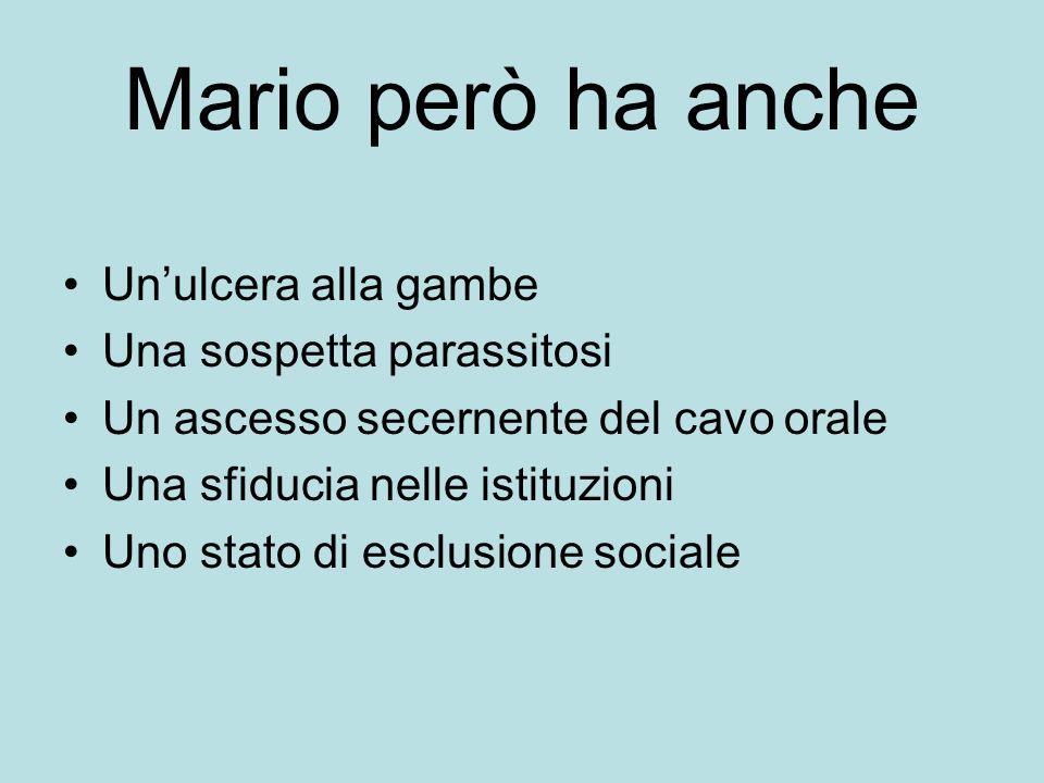 Mario però ha anche Un'ulcera alla gambe Una sospetta parassitosi